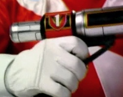 Red Ranger's blaster grip (silver item is the end of a V-Lancer)