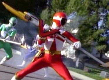 Red Ranger with his V-Lancer